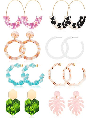 (8 Pairs Mottled Acrylic Hoop Earrings Resin Statement Drop Dangle Earrings Polygonal Bohemian Fashion Jewelry Earrings for Women Girls (Style D))