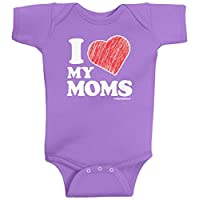 Threadrock Baby Girls' I Love My Moms Infant Bodysuit 6 Months Lavender