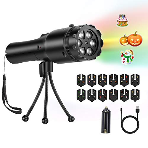 URUTOREO LED Projector Light, Portable Decorative Home Party Light with Tripod, Battery Operated 2 in 1 Decoration Light & Handheld Flashlight for Party Birthday Christmas Halloween Valentine's Days ()