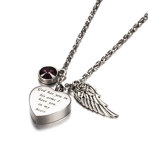AMIST God has You in his arms with Angel Wing Charm Cremation Jewelry Keepsake Memorial Urn Necklace with Birthstone Crystal (February) (February Birthstone Heart Charm)