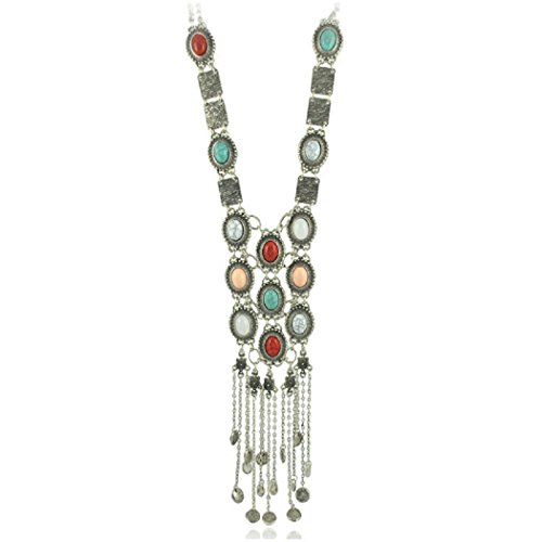 - SUNSCSC Vintage Retro Rhinestone Turquoise Long Boho Bohemian Statement Necklace for Women (Silver Plated)