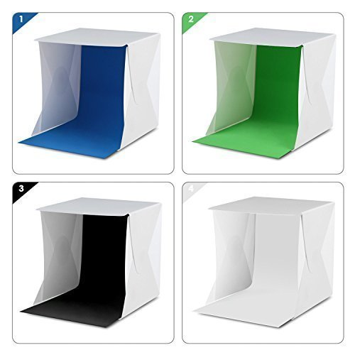Photo Shadow Box - Amzdeal Light Tent Portable Light Box Photography Kit with LED Light (12X12X12 Inches) 4 Colors Backdrops