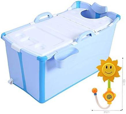 バスタブ、ポータブル折りたたみプラスチックバスタブアダルトバスタブ肥厚プラスチックのバケツ (Color : Blue)