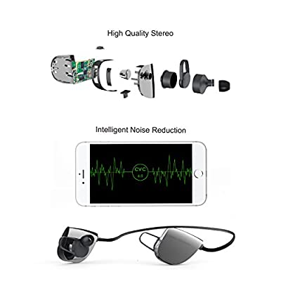 Vomach® Bluetooth Earphones, Wireless Bluetooth Earbuds, Sports Stereo In-Ear Noise Canceling Sweat-proof Headset with Build-in Mic, Multipoint Function, Black