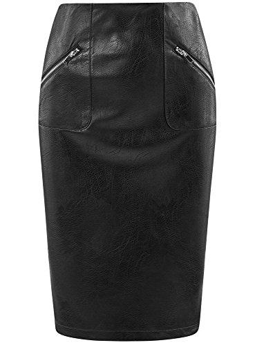 oodji Jupe Midi Ultra Noir Similicuir en 2900n Femme qqZHxnSa