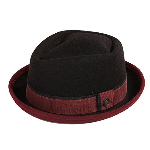 Dasmarca Mens Crushable & Packable Wool Felt Pork Pie Hat - Edward Black/Burgundy L