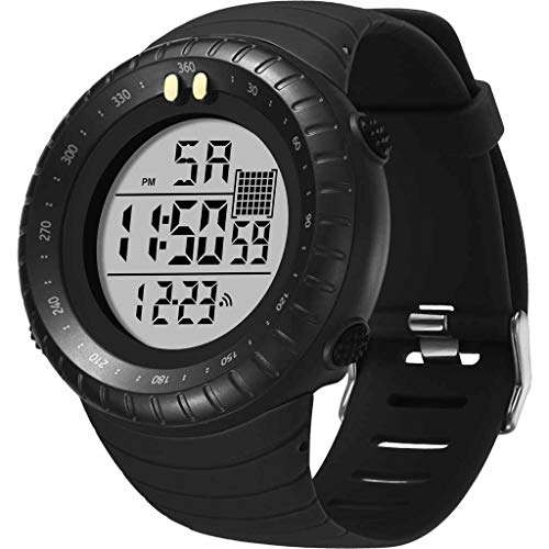 XBKPLO Digital Watch for Mens,Outdoor Sport Multifunction Round Waterproof Calendar Analog Military Wrist Watches Alarm Clock Silicone Strap