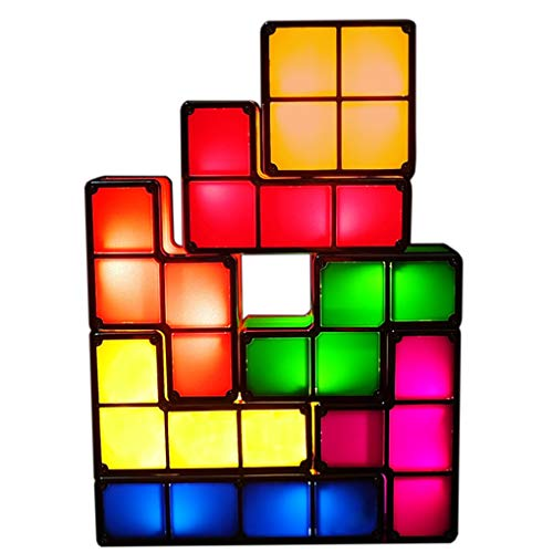 7 PCS Tetris Stackable Night Light 3D Puzzles Toy 7 Colors Magic Blocks Induction Interlocking LED Novelty Desk Lamp Lighting DIY for Home Deco Great Gift for Birthday (7 Colors)