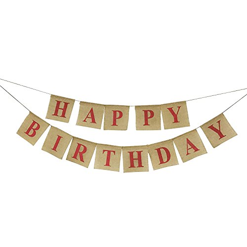 Burlap Happy Birthday Banner Bunting - Rustic Birthday Party Decorations - Premium Quality Party (Burlap Happy Birthday Banner)