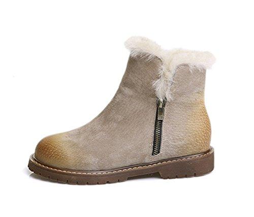 Altijd Mooie Dames Platte Platform Schoenen Winterbont Gevoerde Sneeuw Laarzen Kaki