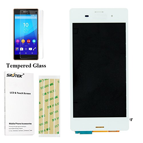 Srjtek For Sony Xperia Z3 - D6603 D6643 D6653 L55u L55t LCD Screen Touch Digitizer Display Parts Replacement ,Free Tempered Glass Film (White)