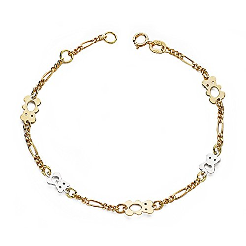 Bracelet 18k 17.5cm bicolor d'or. ours ajourées [AA7438]