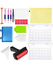 Diamond Painting Accessories, 2 Pack 28 Grids Storage Containers Case Tools Kit for Adults Kids