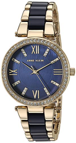 Anne Klein Women's AK/3350NVGB Swarovski Crystal Accented Gold-Tone and Navy Blue Resin Bracelet Watch ()