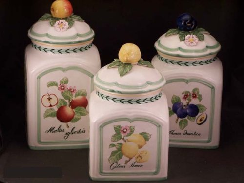 Amazon.com: Villeroy U0026 Boch French Garden Fleurence 3 Piece Canister Set:  Kitchen Storage And Organization Product Sets: Kitchen U0026 Dining