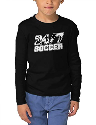 HAASE UNLIMITED 24/7 Soccer - Future Athlete Long Sleeve Toddler Cotton Jersey Shirt (Black, 4T) (Blk Gloves Football)