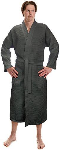 Turkish Linen Men's Waffle Kimono Robes Spa Bathrobe Made In Turkey (XXL, Grey) (Mens Spa Robes)