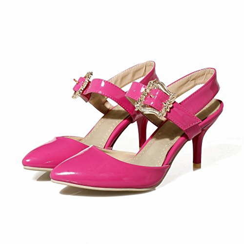 Carolbar Womens Buckle Pointed toe Fashion Patent Leather Mid Stiletto Heel Sandals Rose Red nZUyCsr