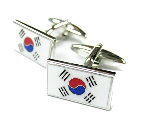 Mens Executive Cufflinks Flags Around the World South Korean Korea Flag Asian Traveler Cuff Links