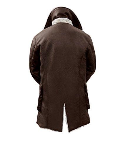 Decrum Mens Bane Leather Tench Coat - Shearling Mens Fur Coat | PU Brown, XL by Decrum (Image #1)