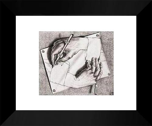 Drawing Hands 15x18 Framed Art Print by M.C. (Escher Drawing)