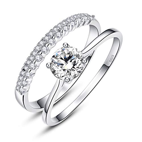 AVECON Round Cut White CZ 925 Sterling Silver Crown Wedding Band Engagement Ring Bridal Set Size 5 ()