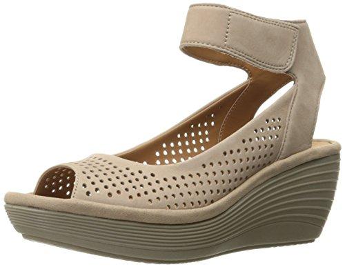 Sandals Clarks Nubuck (CLARKS Women's Reedly Salene Wedge Sandal, Sand Nubuck, 12 M US)