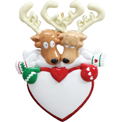 Personalized Reindeer Heart Christmas Tree Ornament 2019 - Cute Moose Couple Mitten Scarf Hug Our 1st Gift Love Flirts First Romantic Rudolph Red Nose Year - Free Customization