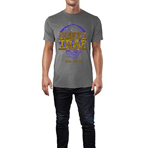 SINUS ART® Totenkopf mit Kopfhörer – My Life Is Trap Herren T-Shirts in Grau Charocoal Fun Shirt mit tollen Aufdruck