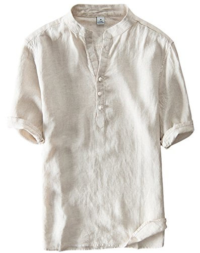 Utcoco Men's Vintage Round Collar Chinese Style Henley Shirts Short Sleeve Tops (Large, Khaki) (Men Shirts Vintage)