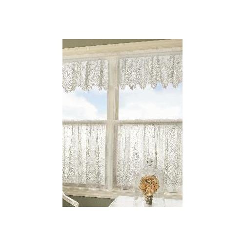 (Heritage Lace Floret 60-Inch Wide by 36-Inch Drop Tier, White)