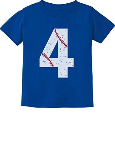 TeeStars - Baseball 4th Birthday Gift for Four Year Old Toddler Kids T-Shirt 5/6 Blue (Kids 4th Birthday T-shirt)