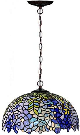 Chandeliers,Magcolor Tiffany Style Stained Glass Purple Wisteria Hanging Lamp