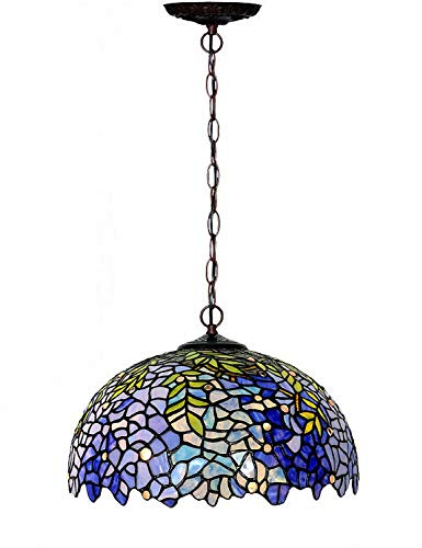 Chandeliers,Magcolor Tiffany Style Stained Glass Purple Wisteria Hanging Lamp with Handmade Lampshade, Suitable for Decorating Room (16in)