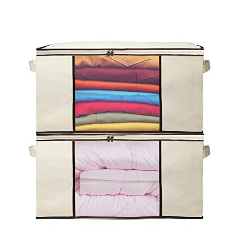 Zilink Breathable Jumbo Zippered Storage Bag with Clear Window, Anti-Mold for Comforter, Sheet, Quilt, Clothes, Blanket Organizers, Set of 2, Beige