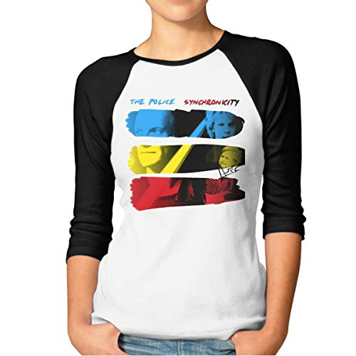 CAOI UUC Women's The Police - Synchronicity Comfortable 3/4 Sleeve Raglan Shirt Black