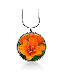 Orange Lily Flower Pendant Necklace, Floral Pendant, Lilies, Fashion Jewelry, Gifts for Women