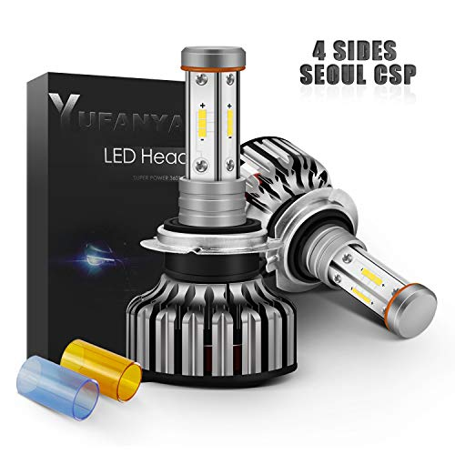 - YUFANYA LED Headlight Bulbs H7 Conversion Kit-4 Sides 100W 12,000LM-DIY 3 Color(3000K Yellow Amber/6000K Xenon White/8000K Blue)-Adjustable Beam High/Low Beam Fog Lamp
