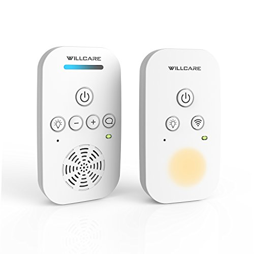 Willcare Baby Monitor with Two-Way Audio, Smooth Night Light, Rechargeable Battery Operated Parent Unit & Long Range, DBM-6. (1TX+1RX, white) Image