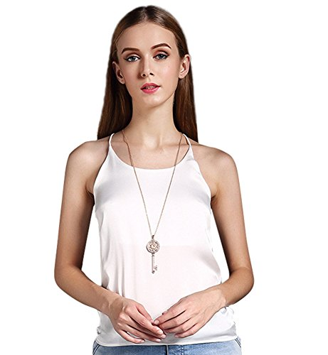 Colyanda Women's Tank Top Silky Loose Camisole Shirt in Many Colors(White,2XL) (Cross Cami Sleek Criss)