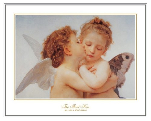 The First Kiss Bouguereau Art Print in Silver Metal Frame 28x22
