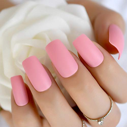 979bbd180e197 CoolNail Dark Pink Matte Nails Light Rose Pink Frosted False Fake Nails  Square Top Designs Artificial