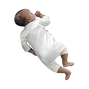 Mono Bebé, Amlaiworld Recién Nacido bebé niñas niños alas Mamelucos Mono Trajes Ropa 0-24 Mes (Tamaño:0-6Mes, Blanco)