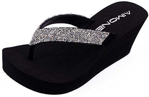 AIMONE Women's Stella Rhinestone Ornamented Flip Flop Sandals(9 B(M) US, Silvery) (Bling Sandals Flip Flops)