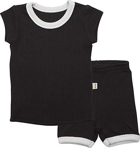 AVAUMA Baby Boys Girls Simple Pj Set Kids Pajamas Short Sleeve Cotton 100%(Black XL/3T) -