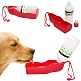 OxGord Portable Drinking Fountain Water Bottle/Bowl Dispenser/Travel Feeder for Dog and Cat, 10 oz