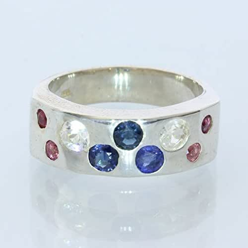 Blue Sapphire and Ruby Silver Band