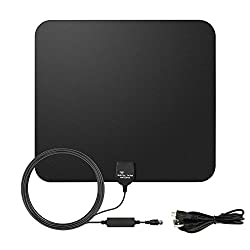 E-more Indoor Hdtv Antenna Amplified Hdtv Antenna 50miles Long Range Vhf Uhf Amplifier Signal Booster With Usb Powersupply & 16.4ft High Performance Coax Cable