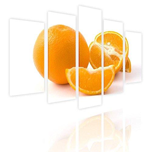 Alonline Art Orange Fresh Fruit Split 5 Panels FRAMED STRETC