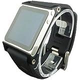 Smart Aluminum Metal Watch Band Wrist Kit Cover Case For Apple iPod Nano 6th Generation 8GB 16GB(Black)